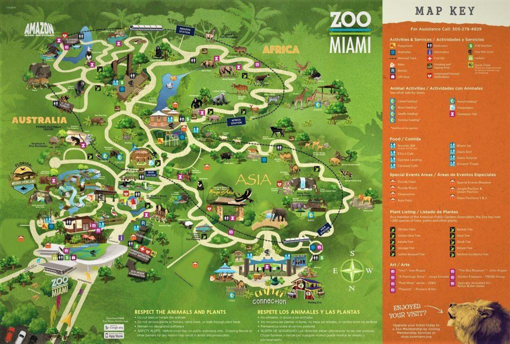 Mapa del Zoológico de Miami con sus diferentes áreas